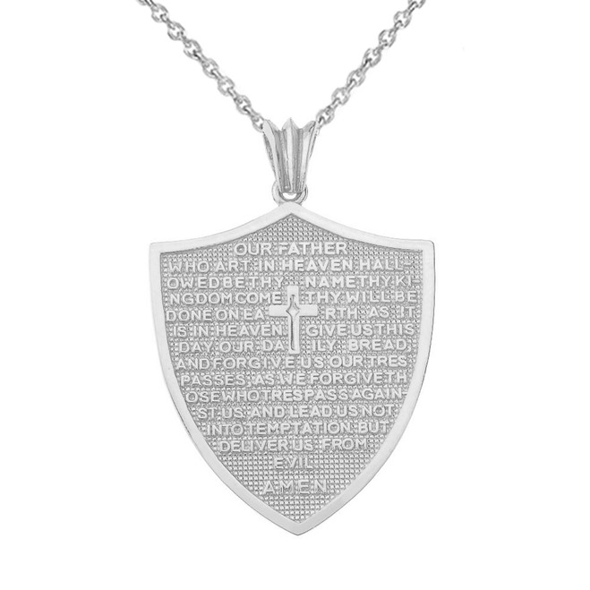 The Lords Prayer Shield Medallion Pendant Necklace in White Gold