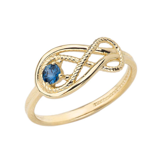 Genuine Sapphire Roped Infinity Ring in Yellow Gold