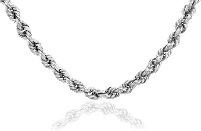 White Gold Chains: Rope Ultra Light Diamond Cut 10K Gold Chain 5mm