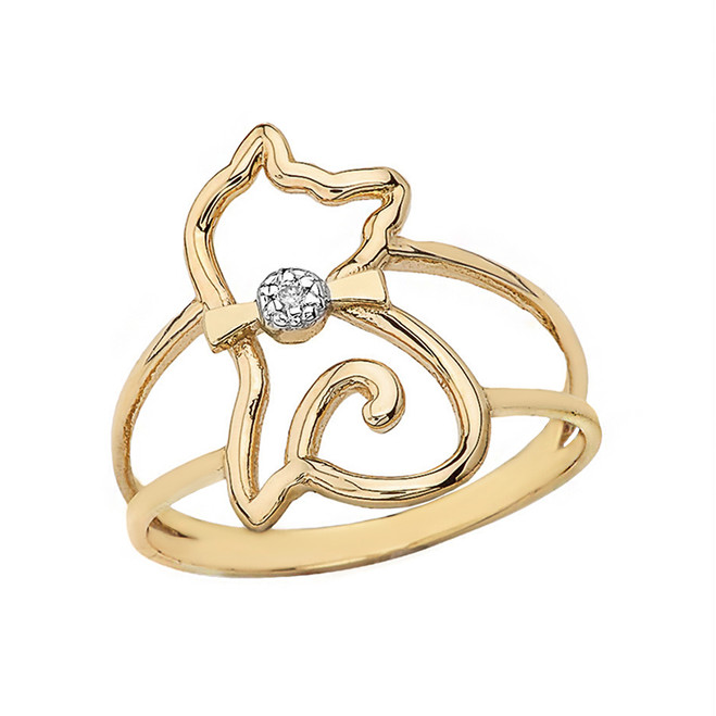 Solid Yellow Gold Cat with Bow Tie Split Shank Solitaire Ring