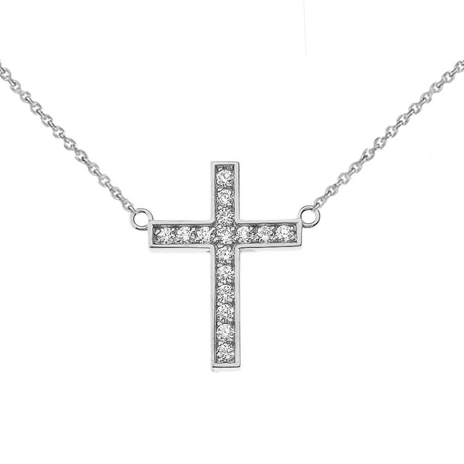 Chic CZ Cross Necklace in Sterling Silver