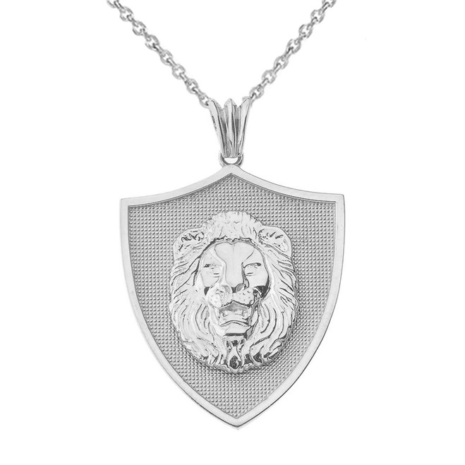 Lions Shield Pendant Necklace in White Gold
