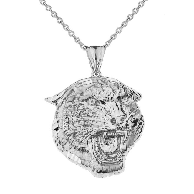 Bold Jaguar Statement Pendant Necklace in Sterling Silver (Large)