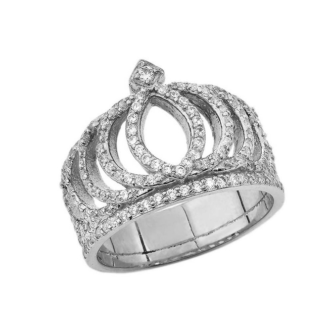 Diamond Royal Crown Ring in White Gold