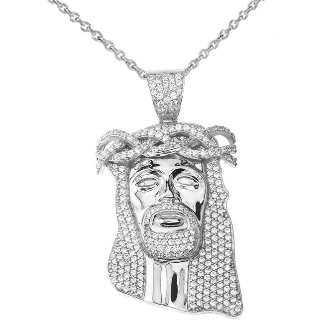 "Cubic Zirconia Jesus Pendant Necklace (2.29"") in White Gold"