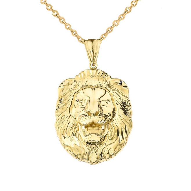 Bold Lion Statement Pendant Necklace in Yellow Gold (Large)
