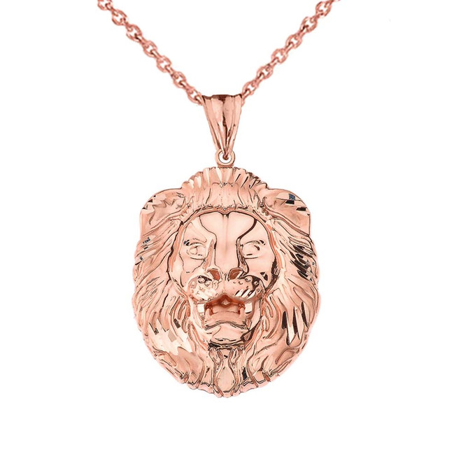 Bold Lion Statement Pendant Necklace in Rose Gold (Large)