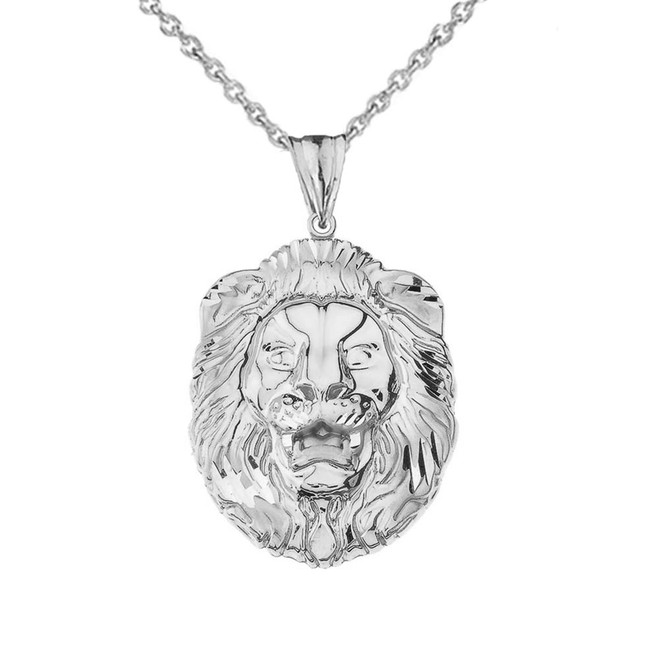 Bold Lion Statement Pendant Necklace in Sterling Silver (Large)