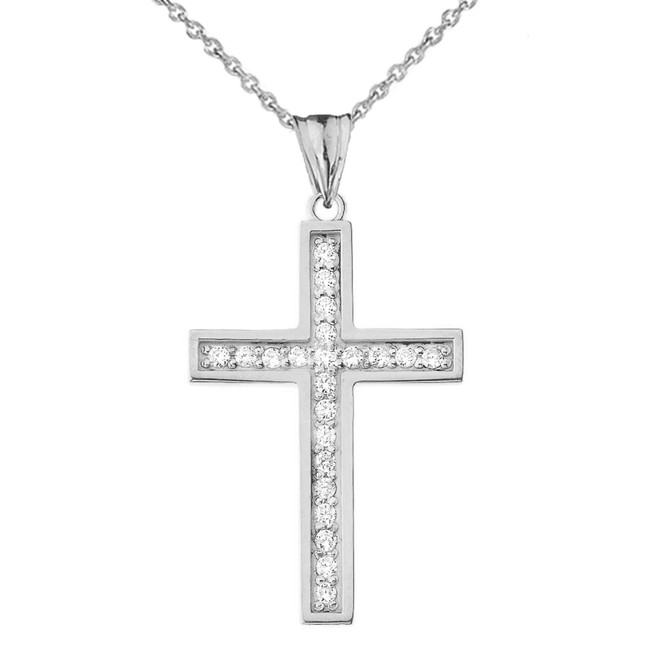 Mod-Chic CZ Cross Pendant Necklace in White Gold
