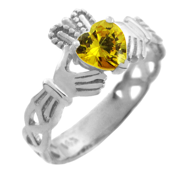 White Gold Claddagh Trinity Band with Citrine Yellow CZ Heart