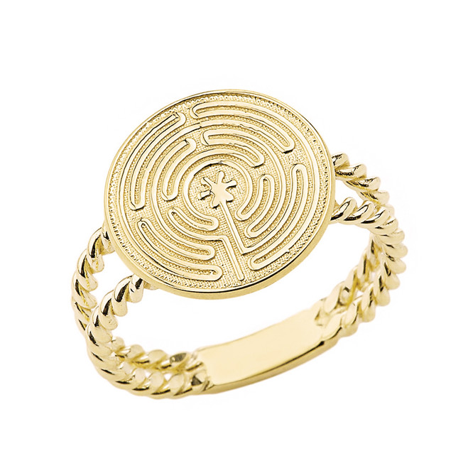 Solid Yellow Gold Chartres Prayer and Mediation Labyrinth Twisted Band Ring