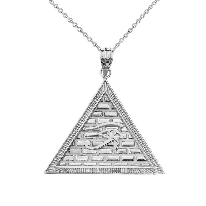 Egyptian Pyramid with Eye of Horus Pendant Necklace in White Gold