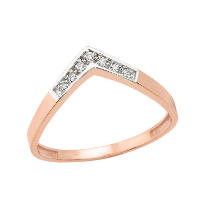Solid Rose Gold Diamond V Shape Wishbone Ring