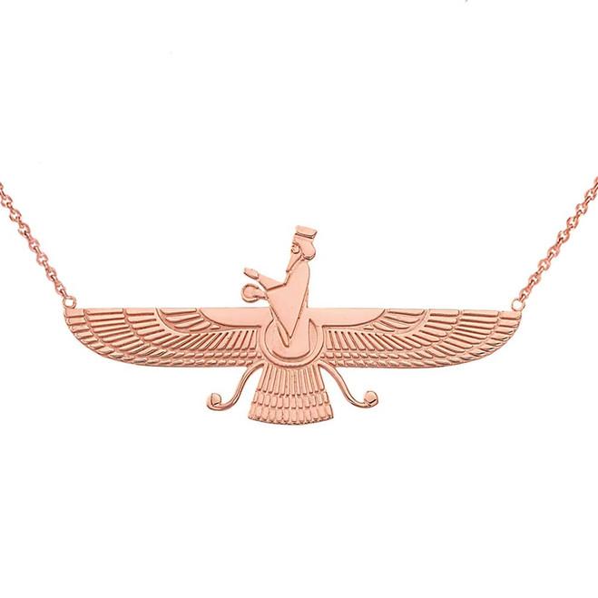 Iranian Faravahar Necklace in 14K Rose Gold