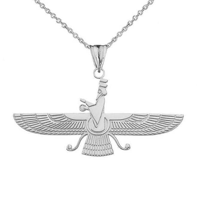 Iranian Faravahar Pendant Necklace in White Gold