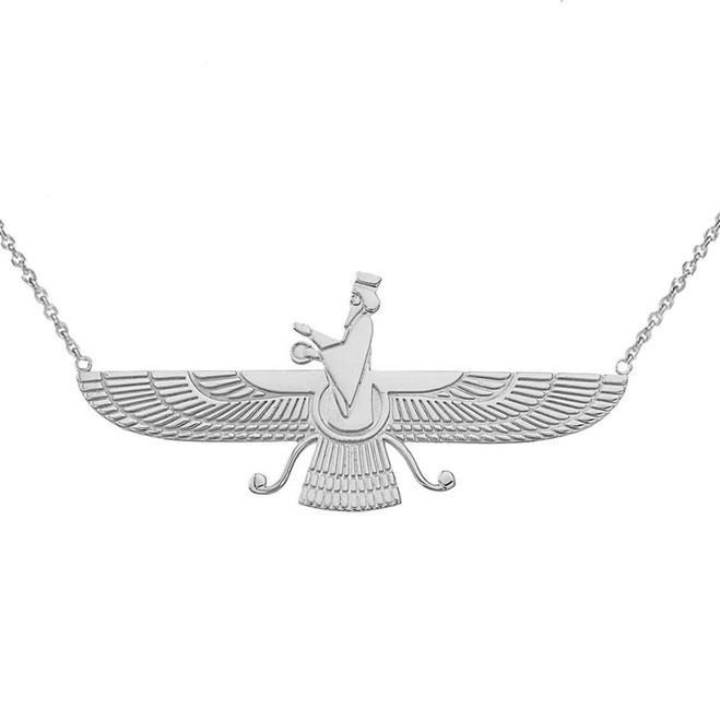 Iranian Faravahar Necklace in 14K White Gold