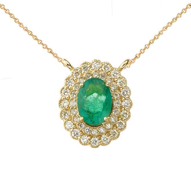 Genuine Emerald & Diamond Necklace in 14K Yellow Gold