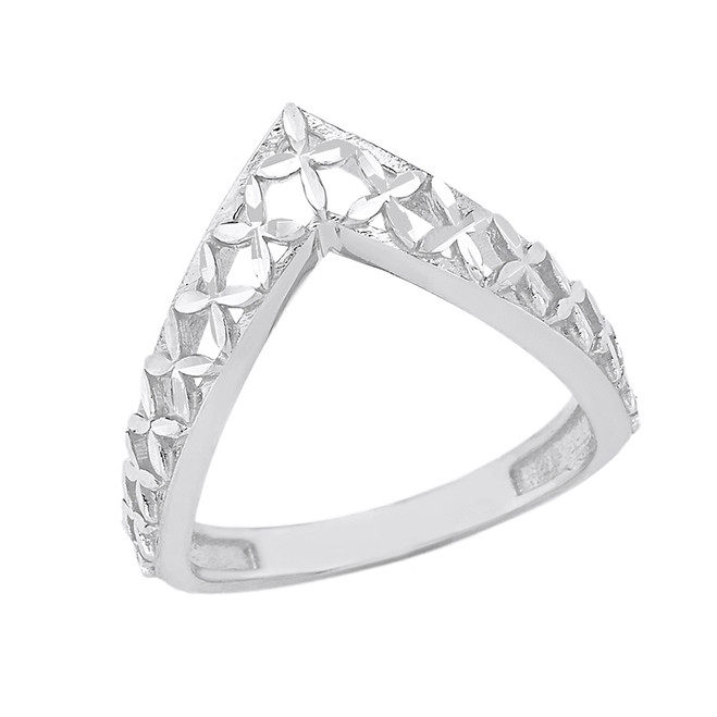 Solid White Gold Flower of Life V Shape Sparkle Cut Ring