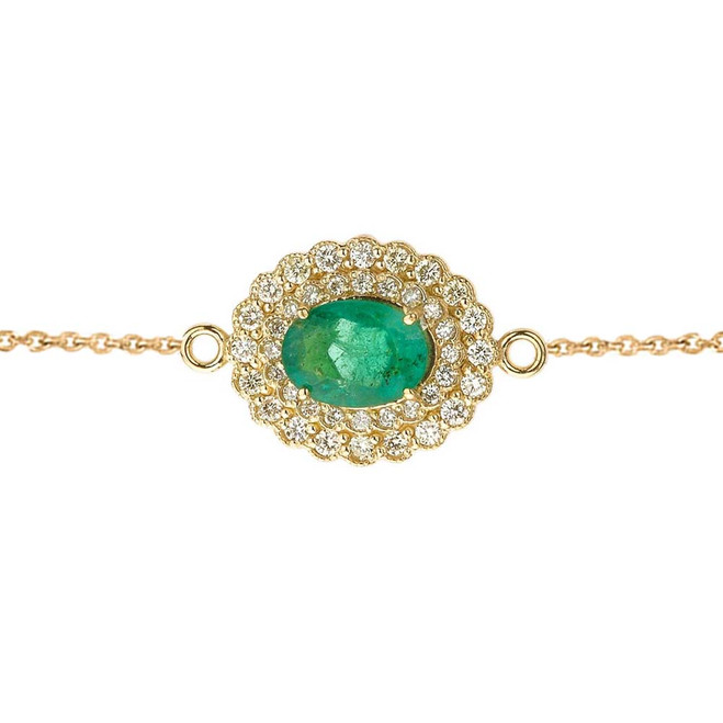 Genuine Emerald & Diamond Bracelet in Yellow Gold