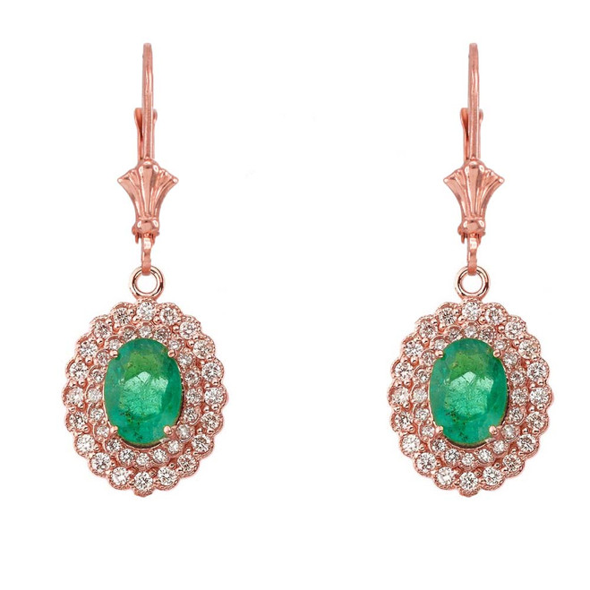 Genuine Emerald & Diamond Earrings in 14K Rose Gold