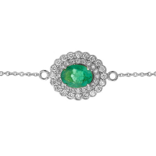 Genuine Emerald & Diamond Bracelet in White Gold