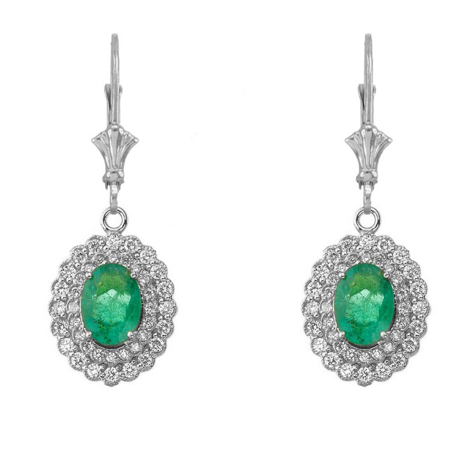 Genuine Emerald & Diamond Earrings in 14K White Gold