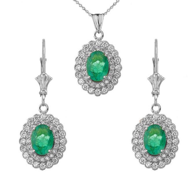 Genuine Emerald & Diamond Pendant Necklace Set in 14K White Gold