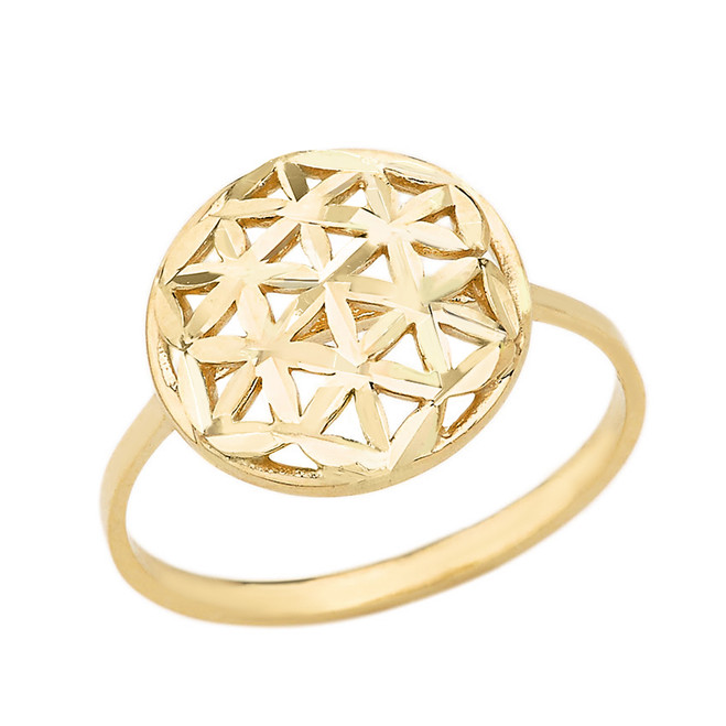 Solid Yellow Gold Sparkle Cut Flower of Life Disc Ring