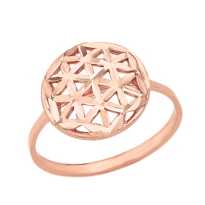 Solid Rose Gold Sparkle Cut Flower of Life Disc Ring