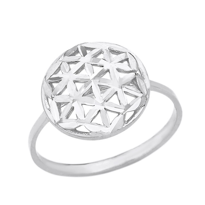 Solid White Gold Sparkle Cut Flower of Life Disc Ring