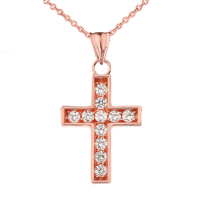 Dainty-Chic CZ Cross Pendant Necklace in Rose Gold