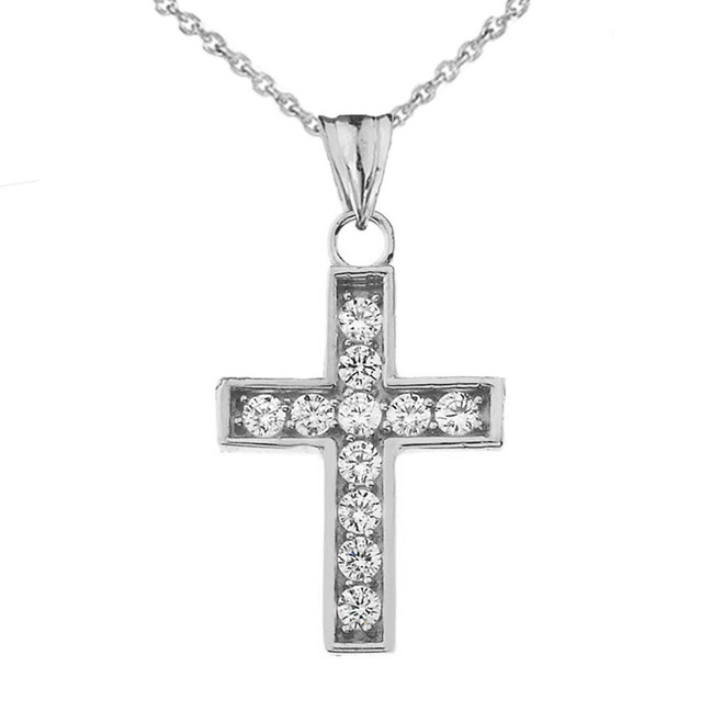 Dainty-Chic CZ Cross Pendant Necklace in White Gold