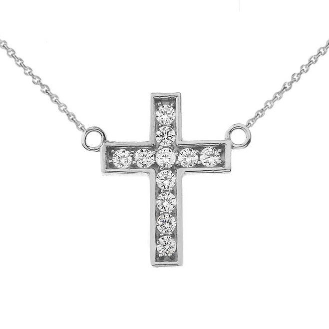 Dainty-Chic CZ Cross Necklace in Sterling Silver