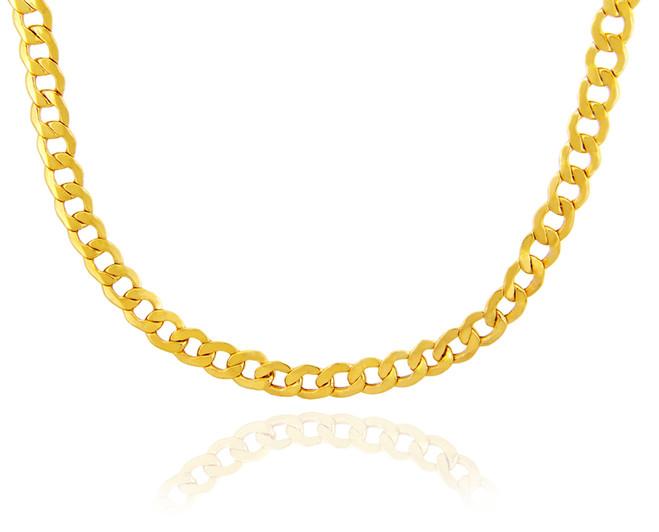 Gold Chains: Hollow Cuban 10K Gold Chain 8.04mm