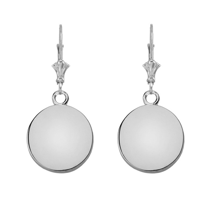 Solid White Gold Simple Round Leverback Earrings