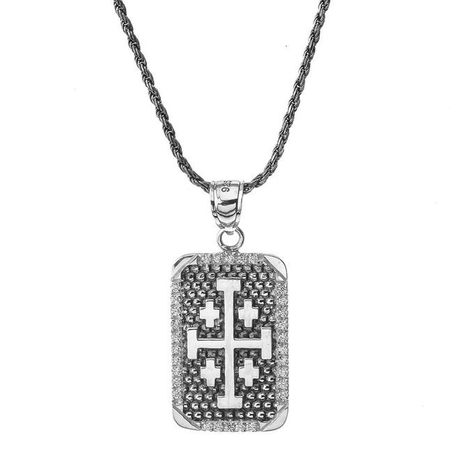 Vintage Antique Jerusalem Cross Dog Tag in Sterling Silver