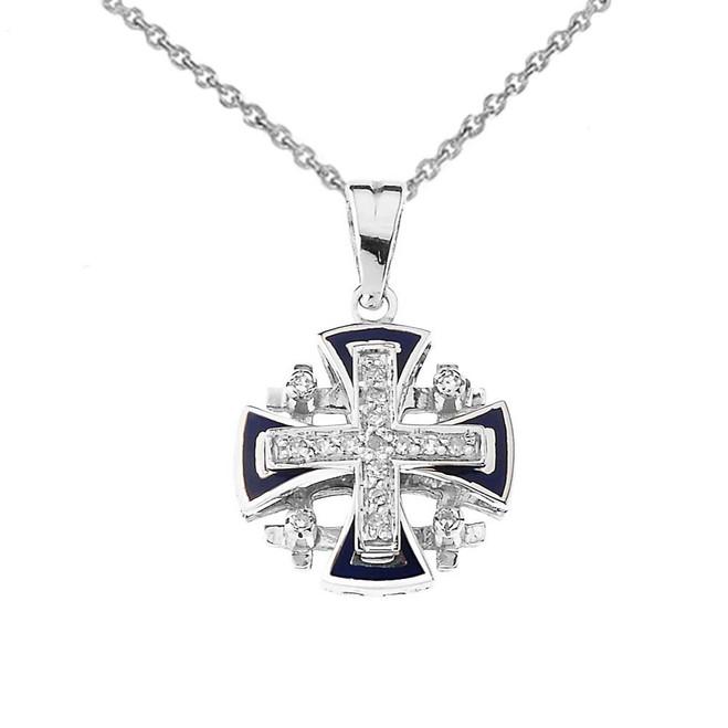Diamond Jerusalem Cross Pendant Necklace In Sterling Silver With Blue Enamel