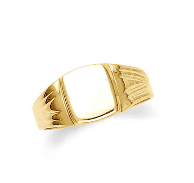 Men's gold signet ring in 10k or 14k.