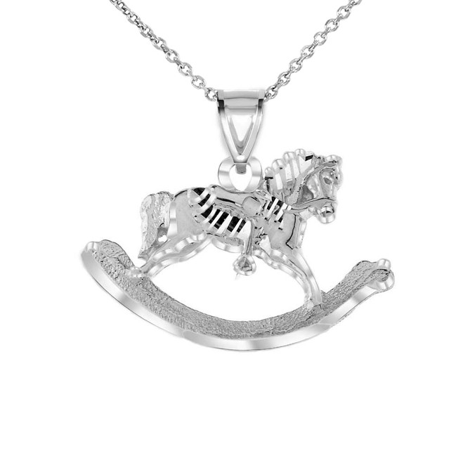 Texturized Rocking Horse Pendant Necklace in White Gold