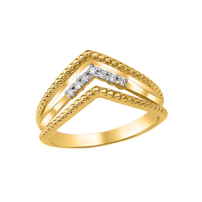 Diamond Multi-Row Chevron Beaded Ring in Yellow Gold