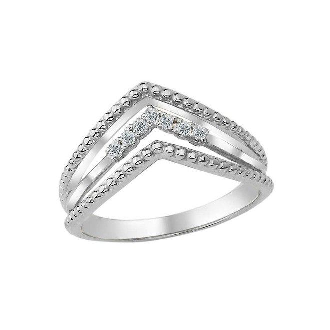 Diamond Multi-Row Chevron Beaded Ring in White Gold