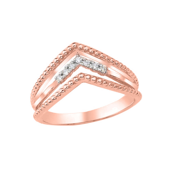 Diamond Multi-Row Chevron Beaded Ring in Rose Gold