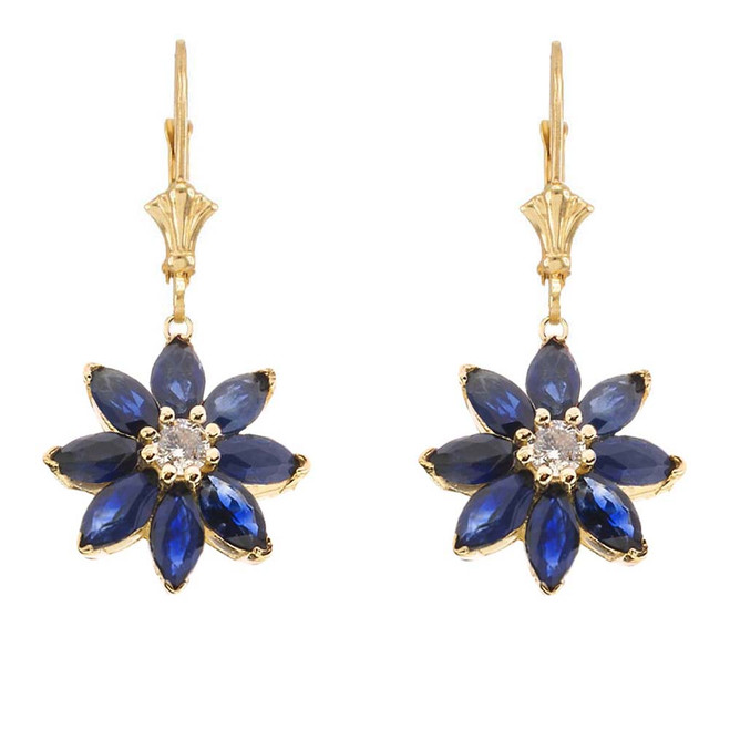 Genuine Sapphire and Diamond Daisy Earrings In 14K Yellow Gold