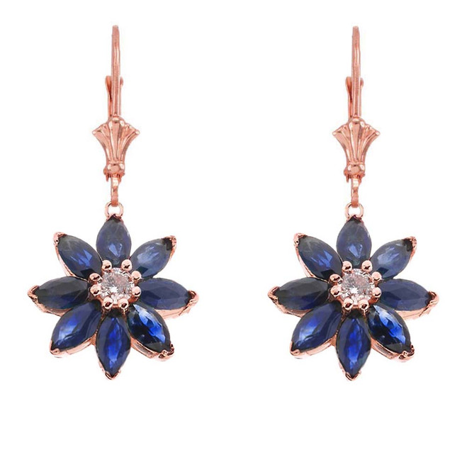 Genuine Sapphire and Diamond Daisy Earrings In 14K Rose Gold