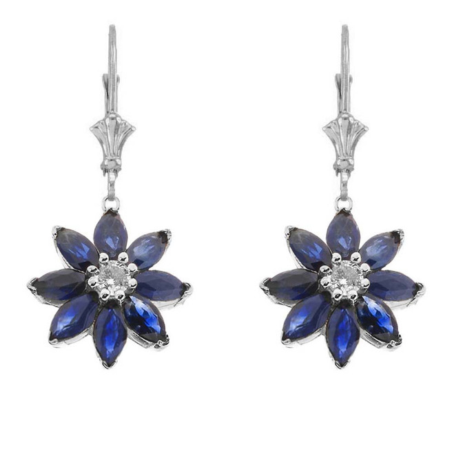 Genuine Sapphire and Diamond Daisy Earrings In 14K White Gold