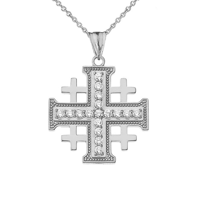 CZ Jerusalem Cross Pendant Necklace in Sterling Silver