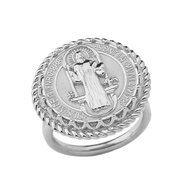 Saint Benedict statement Ring in White Gold