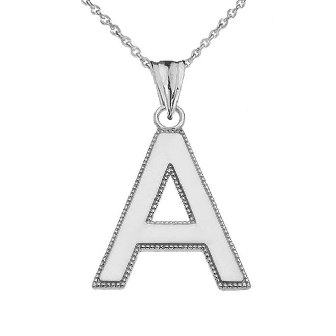 Personalized White Gold  Milgrain  Initial  Pendant Necklace