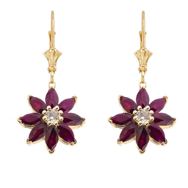 Genuine Ruby  and Diamond Daisy Earrings In 14K Yellow Gold