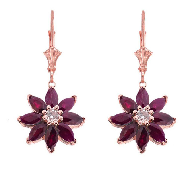 Genuine Ruby  and Diamond Daisy Earrings In 14K Rose Gold